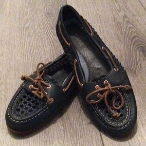 Sperry Navy Basket Woven Angel Fish Topsiders